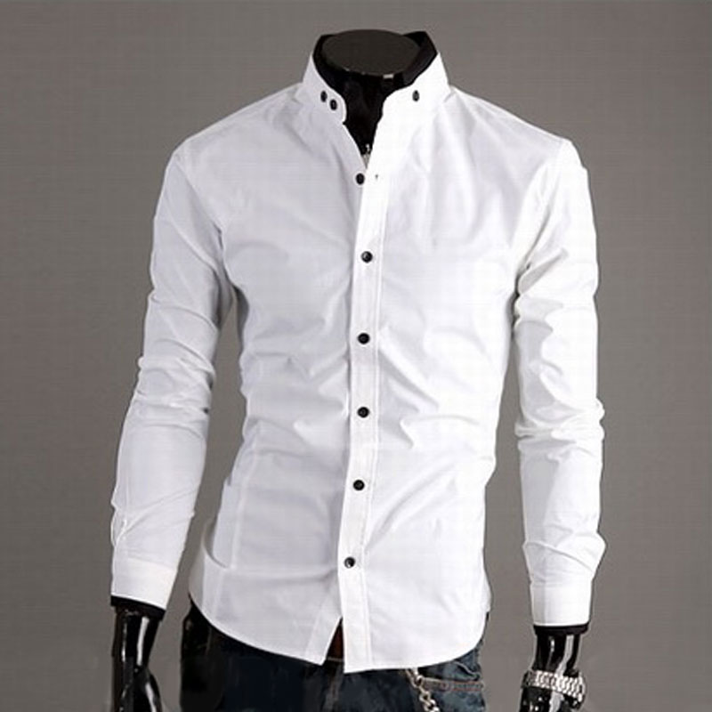Men Button Down Stand Collar Top Blouse Casual Fashion
