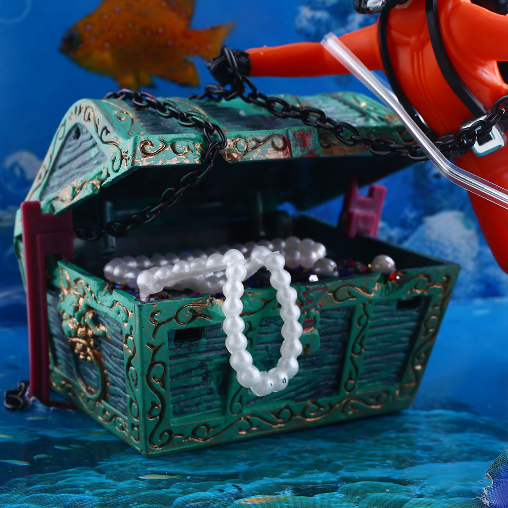 Aquarium ornament decor treasure hunter chest diver for for Diving and fishing mural