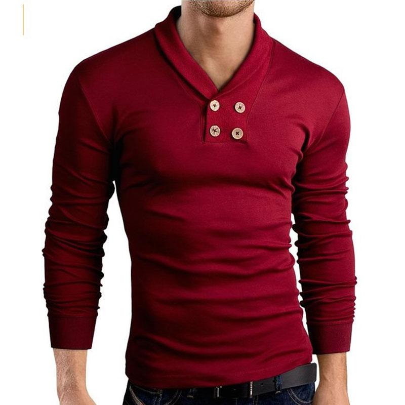 Men lapel long sleeve top blouse jumper pullover shirt tee for Mens long sleeve pullover shirts