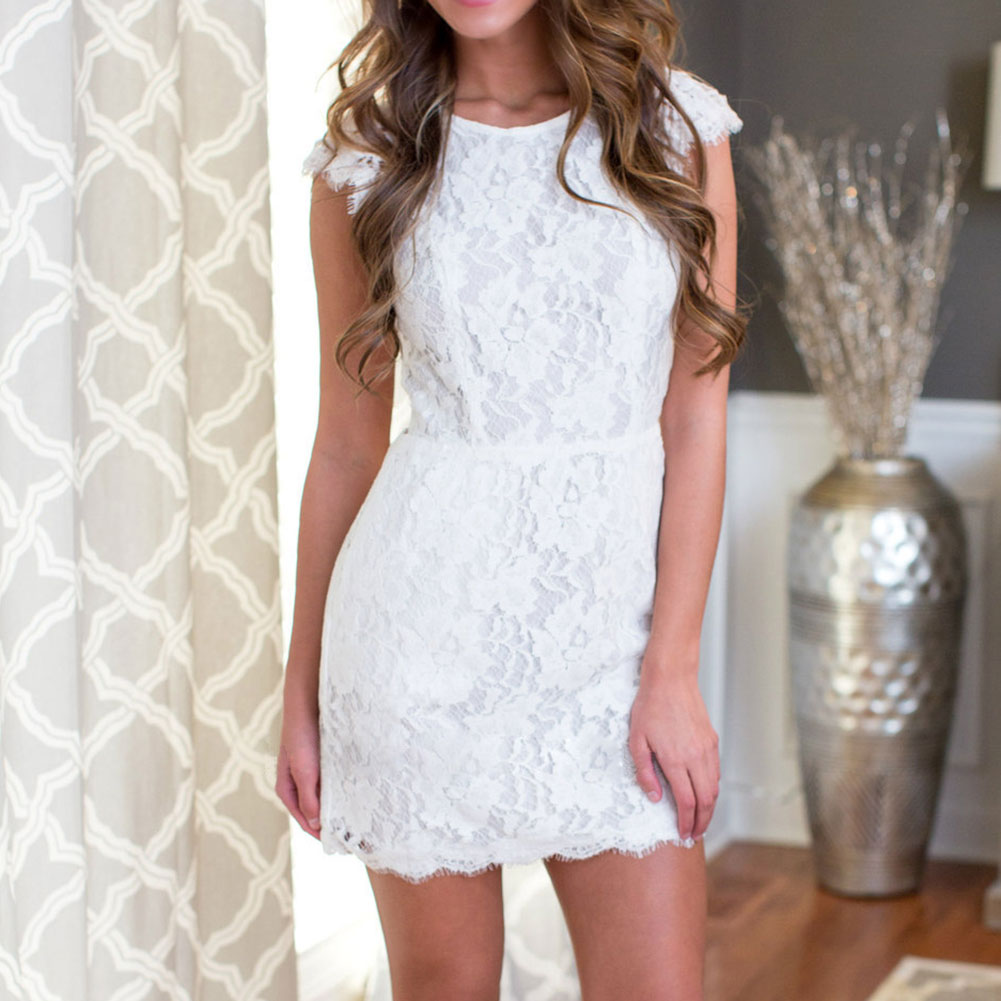 Women Lace Backless Crewneck Short Sleeve Bodycon Sexy Evening Mini Dresses