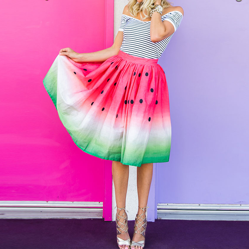 fashion watermelon printed pleated a line elastic