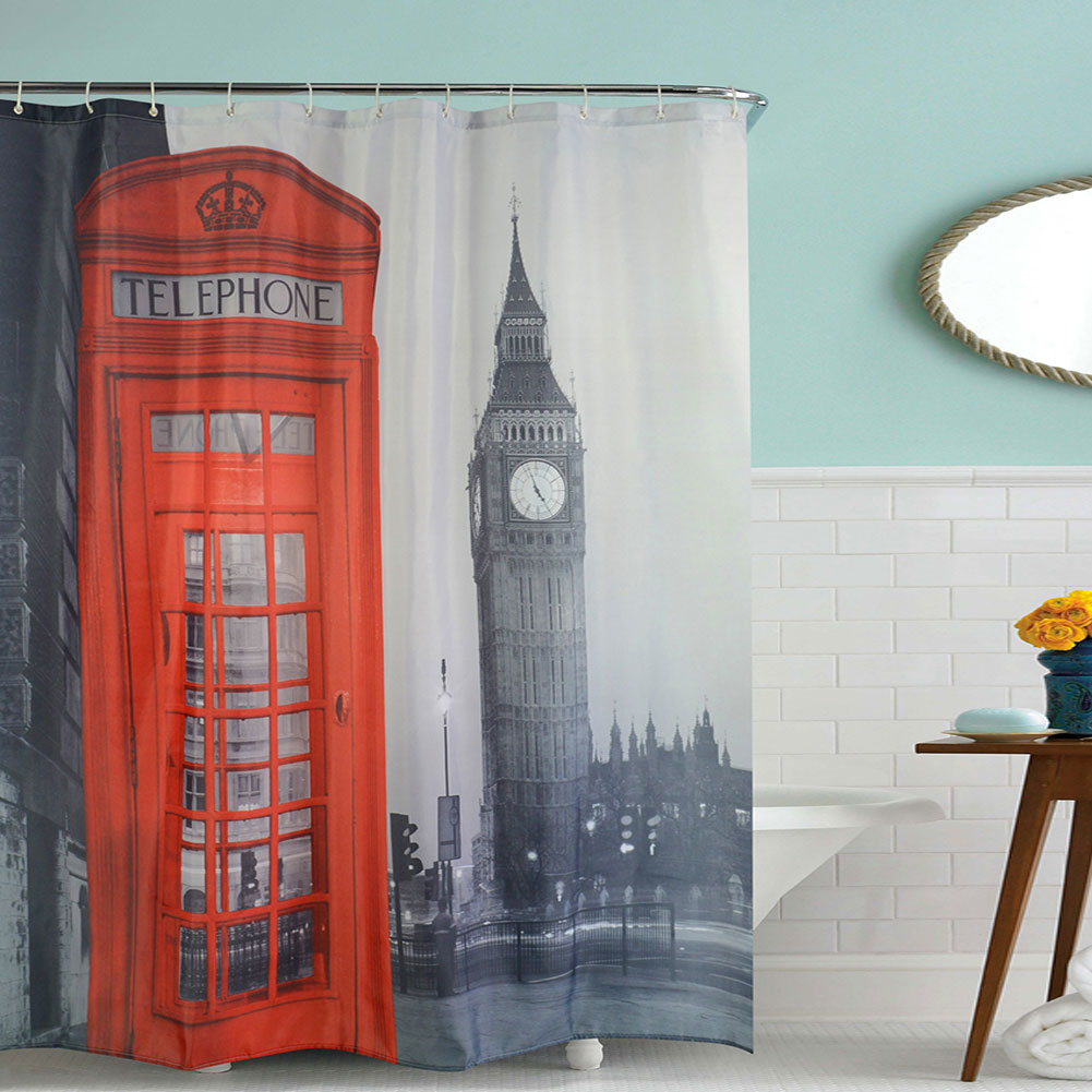 Practical printing designed family swimming pool bathroom Swimming pool shower curtain