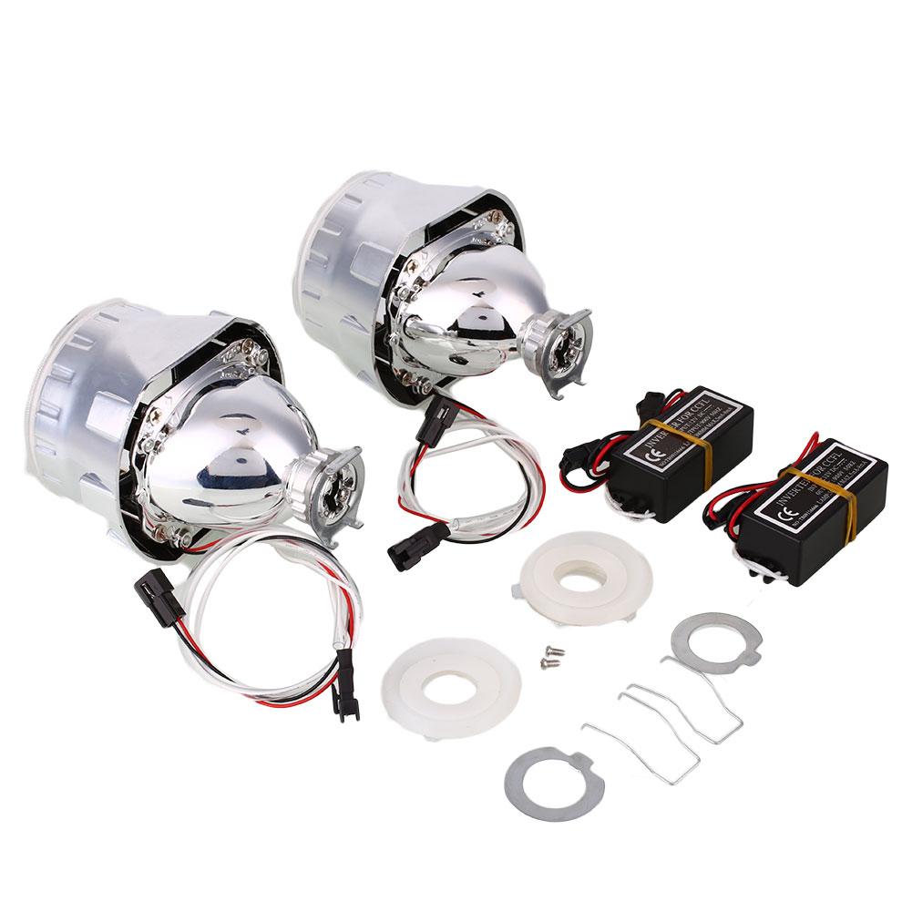 2pcs 2 5 Inch Car Vehicle Bi Xenon Hid Projector Conversion Kit Lens Light Ebay