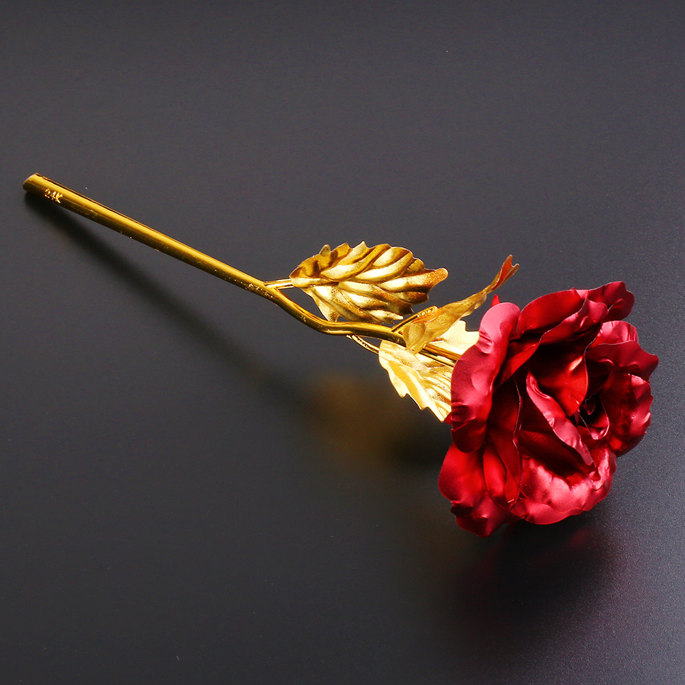 24K Gold Plated Golden Rose Flower Valentines Day Gift Birthday