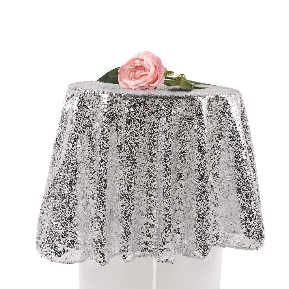 80cm Sequin Tablecloth Round Designed Party Gold Silver ...