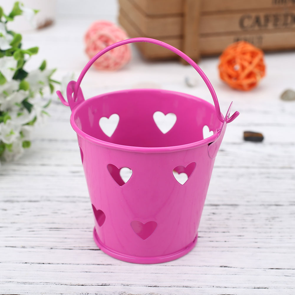 9307-Hollow-Heart-Shape-Iron-Barrel-Flower-Pot-Balcony-Plant-Decor-6-colors