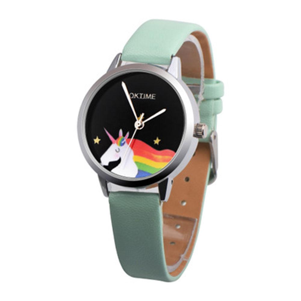 8A63-Cute-Students-Watch-Wristwatches-Rainbow-Unicorn-Pattern-PU-Strap-Girls