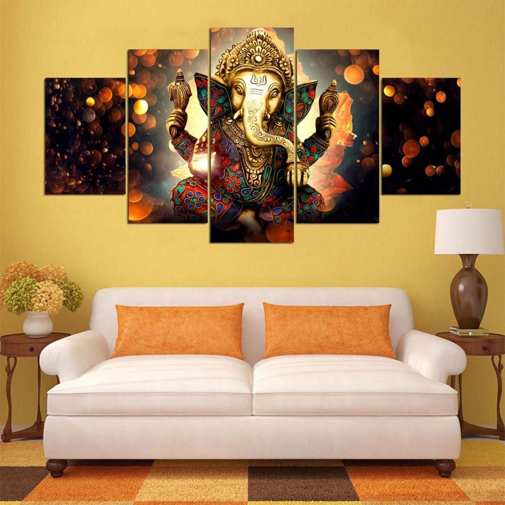 7845 5Pcs/Set Ganesha Abstract Print Oil Painting Home Wall Picture ...