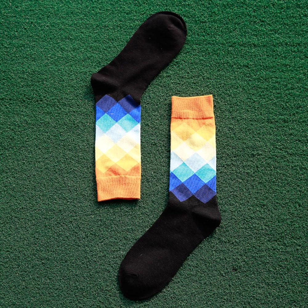 14FB-1Pair-New-Mens-Cotton-Happy-Socks-Colorful-Soft-Diamond-Stocking-Socks