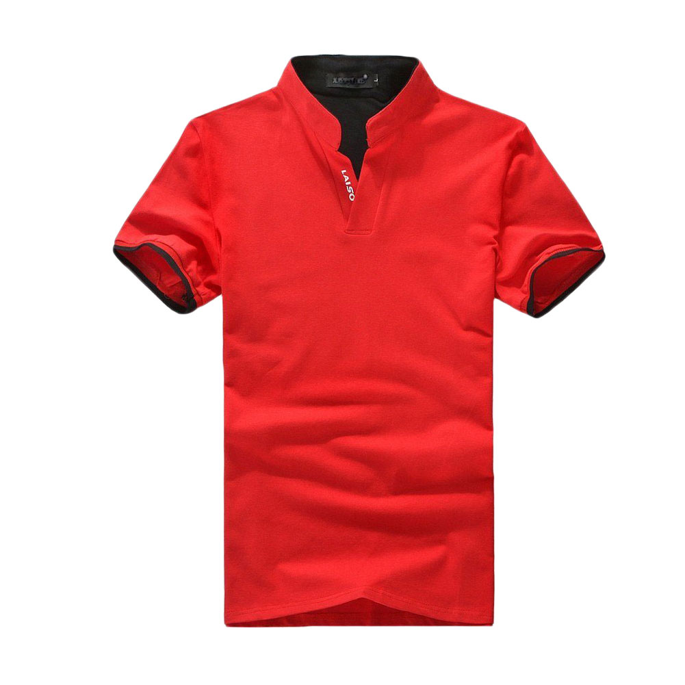 men short sleeve v neck casual fashion top blouse jumper