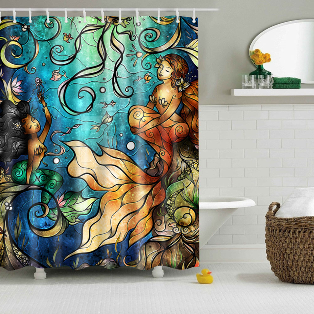 Mermaid pattern polyester bathroom shower curtain sheer for Mermaid bathroom decor vintage