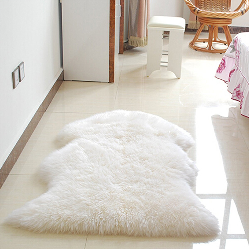Fur Soft Fluffy Wool 2 In 1 Chair Seat Cover Carpet Pad Plain Mat Bedroom Ebay
