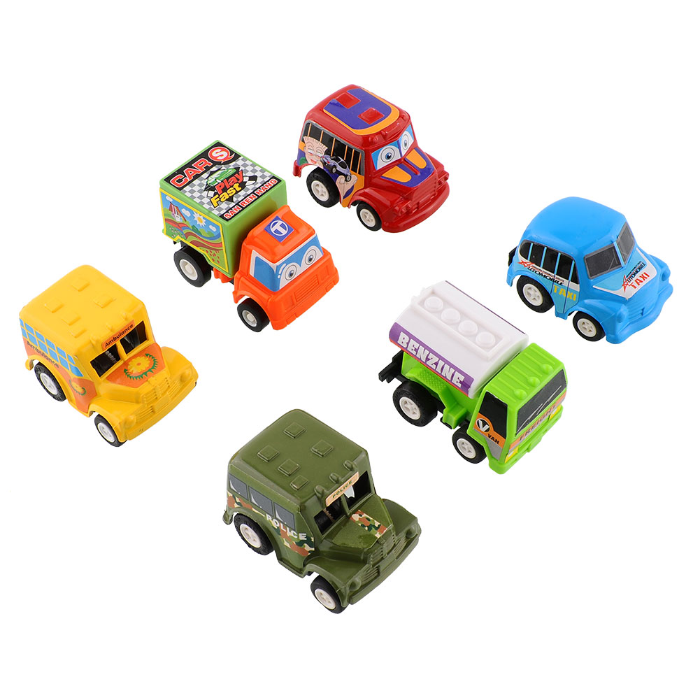 6pcs truck vehicle mini pull back car model moveable racer. Black Bedroom Furniture Sets. Home Design Ideas