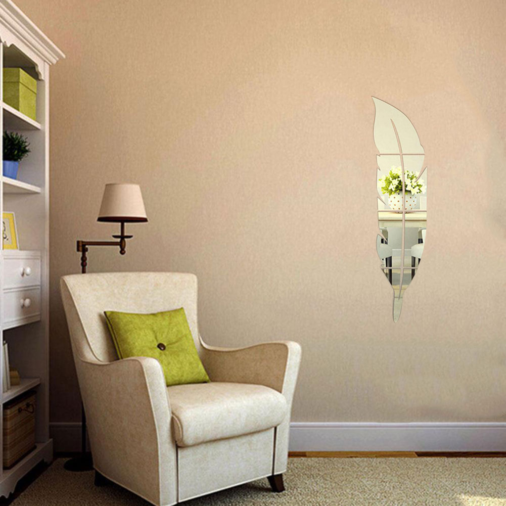 Wall stickers diy - Diy Modern Plume Feather Style Acrylic Mirror Wall Stickers Room