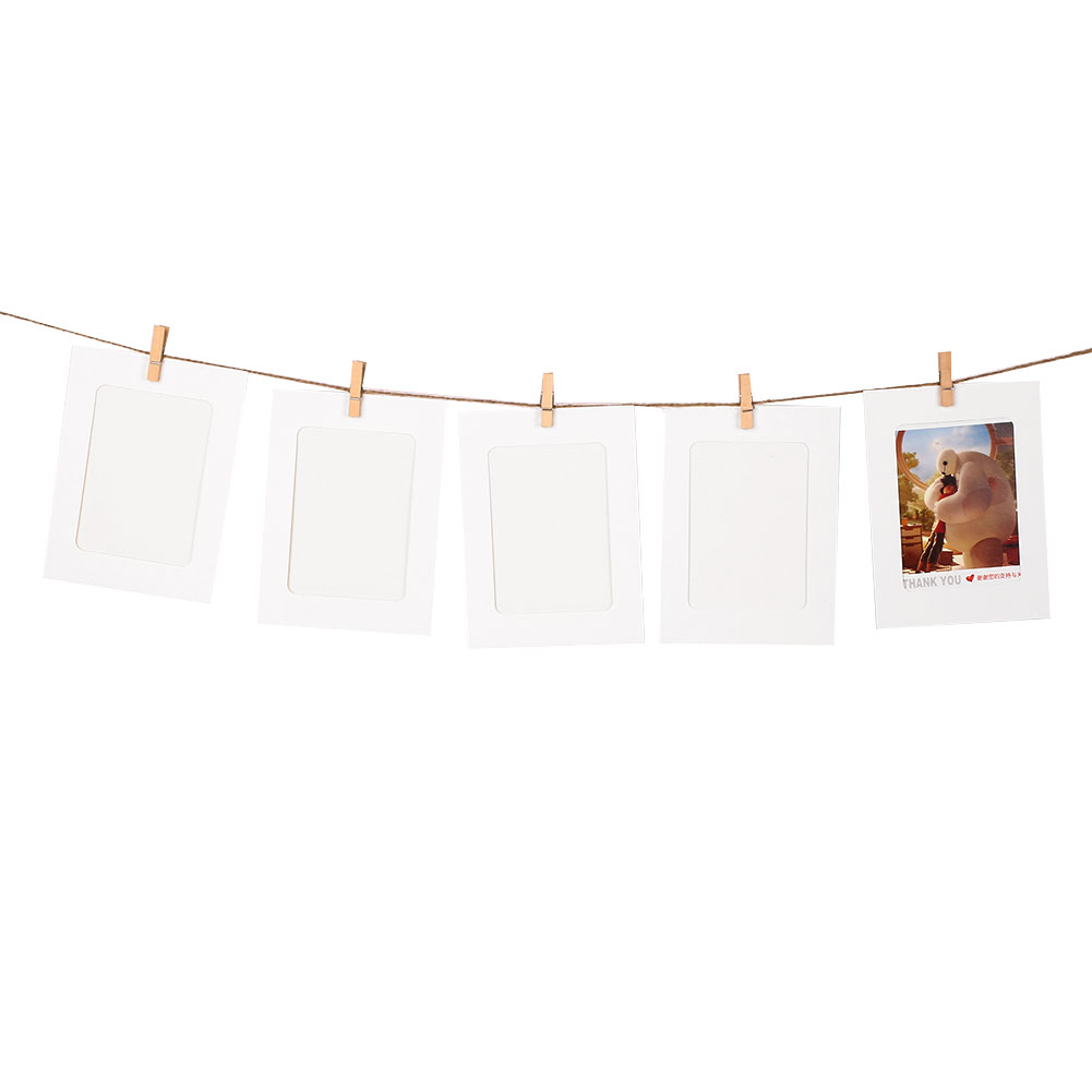 10 paper photo diy wall picture hanging frame album rope for Wall hanging
