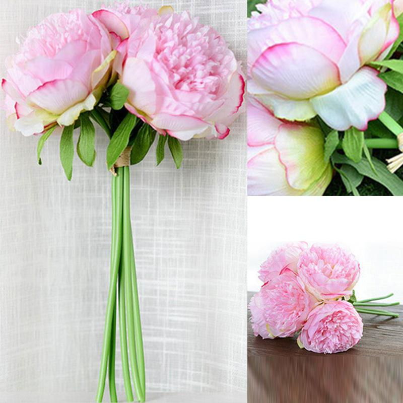 silk fake flowers leaf peony floral wedding bouquet party home decor