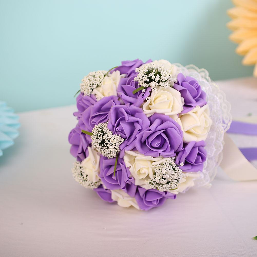 handmade crystal bridal wedding bouquet silk flower bridesmaid foam brooch decor ebay. Black Bedroom Furniture Sets. Home Design Ideas