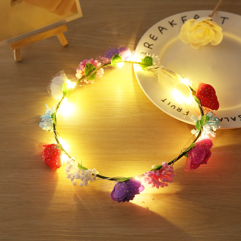 41FA 5 Color Hair Band Headband LED Bride Hollow Flower Garland with Lights