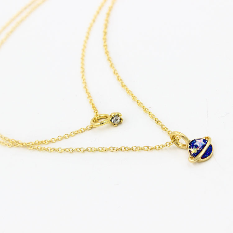 women Necklace jewelry Lovely Planet Pendant Crescent Moon Crystal Bib chain