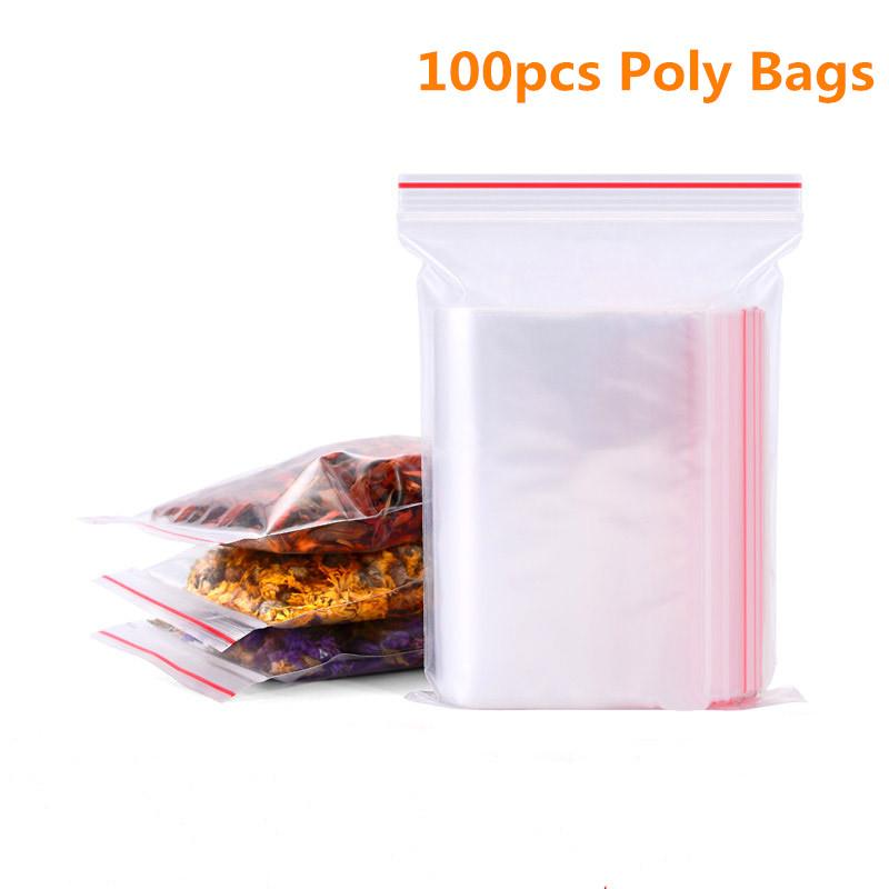 5B6F-100pcs-Plastic-Seal-Ziplock-Bags-Clear-Poly-Polyethylene-Food-Flat-Packing