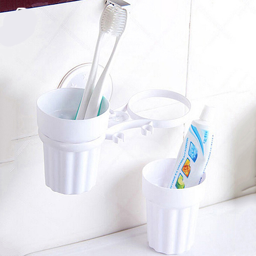 Double Toothbrush Toothpaste Suction Cup Holder Rack Bathroom Lovely Family