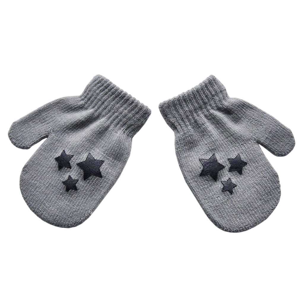 Kids Star Heart Pattern Mittens Knitting Winter Gloves Fashion Lovely Cute ...