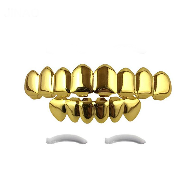 K gold plated mouth teeth joker grillz top bottom