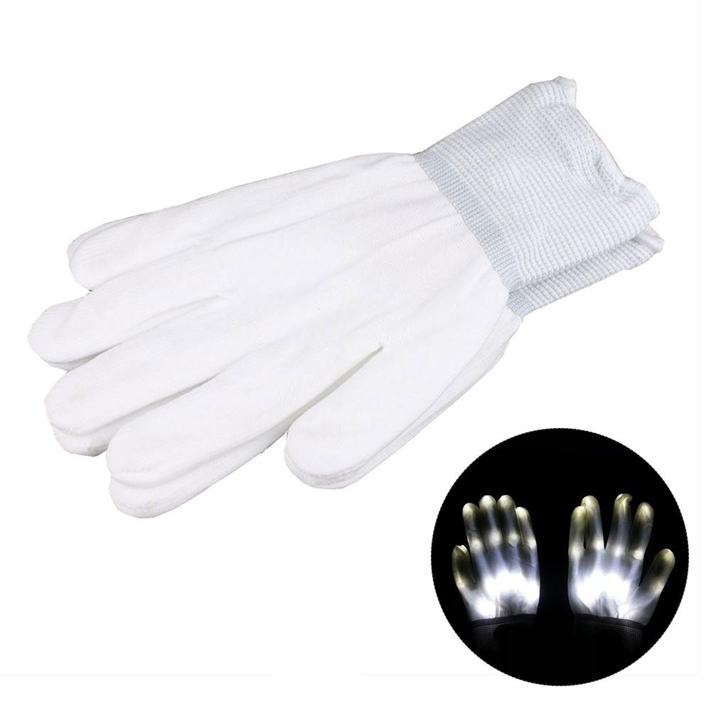 LED Rave Flashing Gloves Glow 7 Mode Light Up Finger Tip Lighting Pair Black NEW