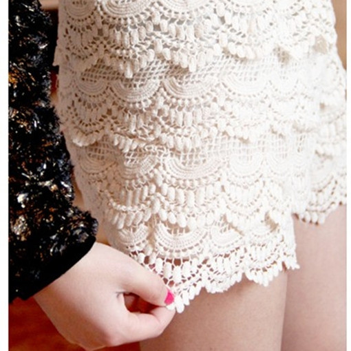 Ladies Sexy Lace Tiered Short Skirt Under Safety Pants Shorts lace 2 Colors