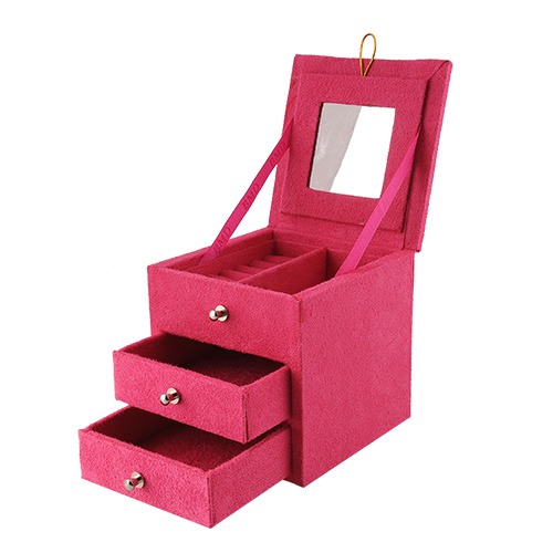 New Portable Essential Purple 3 Layers Square Jewelry Storage Box for Ring