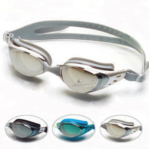 Unisex-Non-Fogging-Anti-UV-Swimming-Goggles-Glasses-Silver-Silicone-ear-plugs