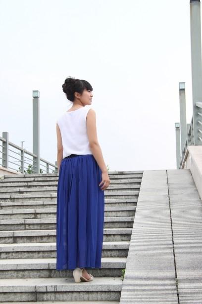 Women-Double-Layer-Chiffon-pleated-Retro-Long-Elastic-Waist-Maxi-Dress-Skirt-B2