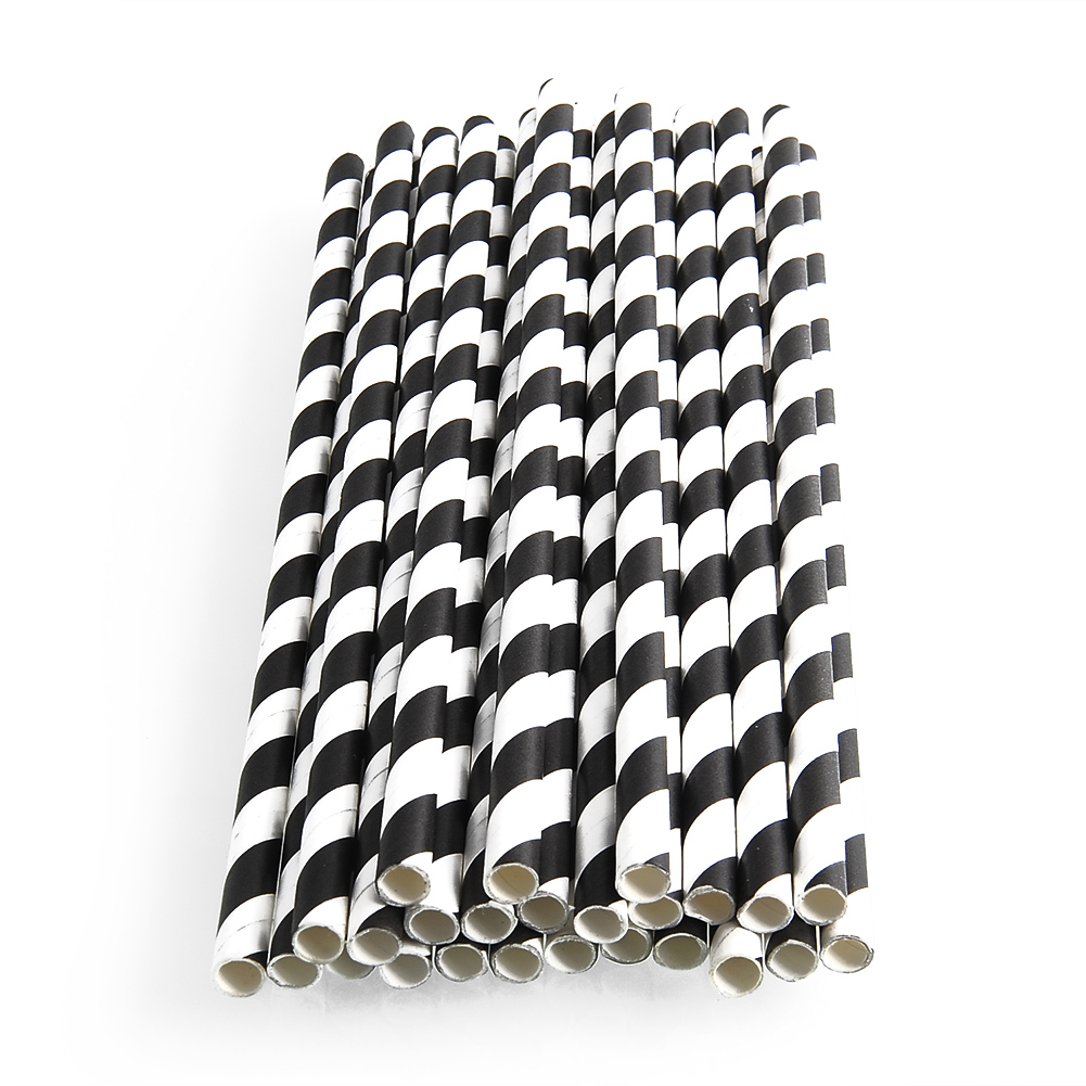25x Colored Striped Paper Drinking Straws for Wedding Birthday Party Decoration