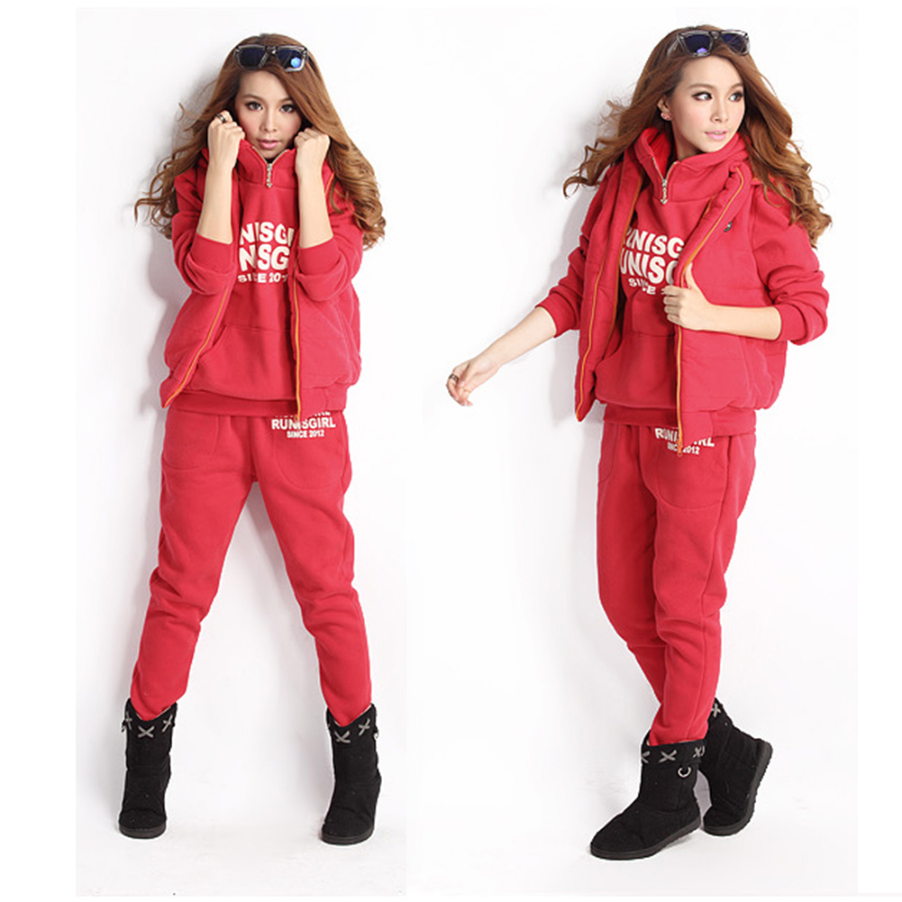 Brand Girls Sports Hoodies Coat+Vest+Pants 3pcs Suit Tracksuit Womens Hooded