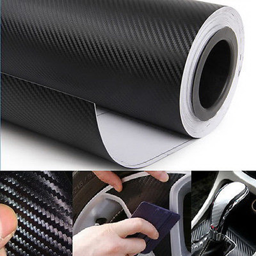 30cmx127cm real texture carbon film wrap vinyl decal car interior sticker black ebay. Black Bedroom Furniture Sets. Home Design Ideas