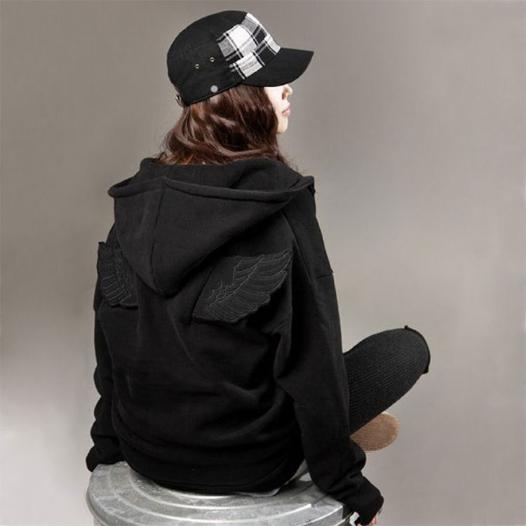 Fashion Cute Womens Girls Angel Wings Hoodie Jacket Hooded Coat Tops