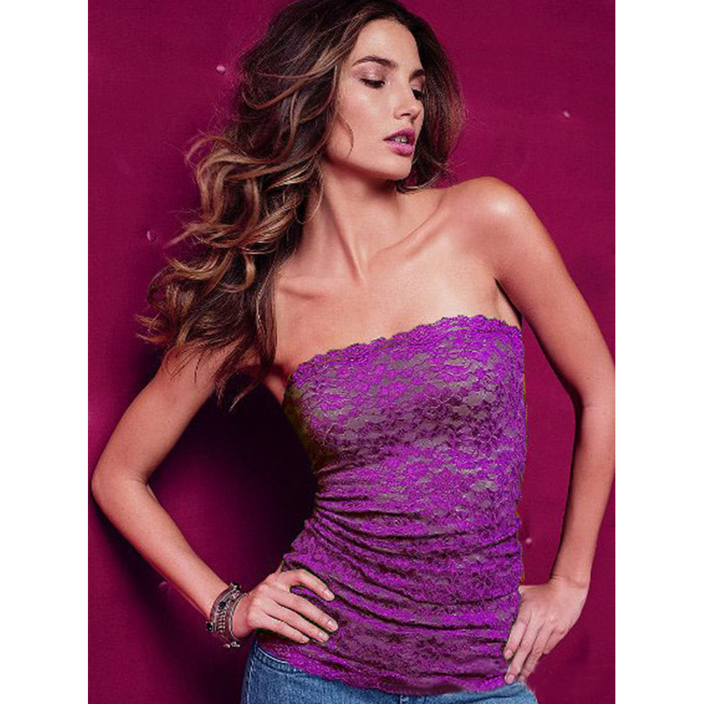New Hot Women Fashion Strapless Clubwear Lace Tube Top Bandeau Stretch Ribbed
