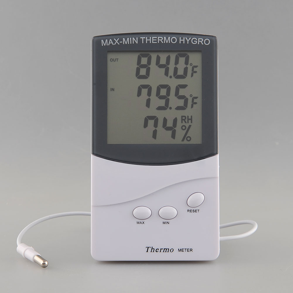 digital gro e lcd innen au en thermometer humidit t c f hygrometer meter ebay. Black Bedroom Furniture Sets. Home Design Ideas