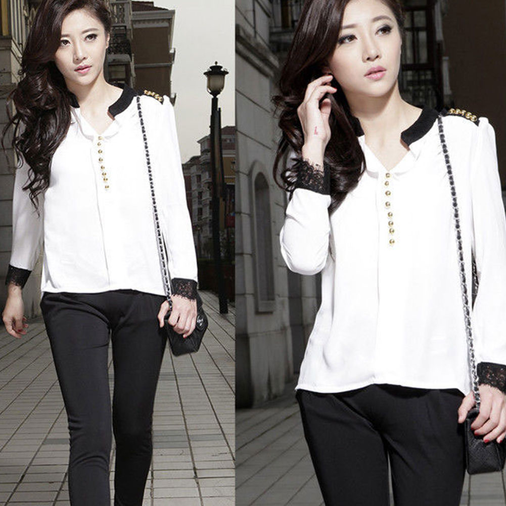 Hot Women's Lace Long Sleeve Button Chiffon T-shirt Solid Blouse Tops M-XL