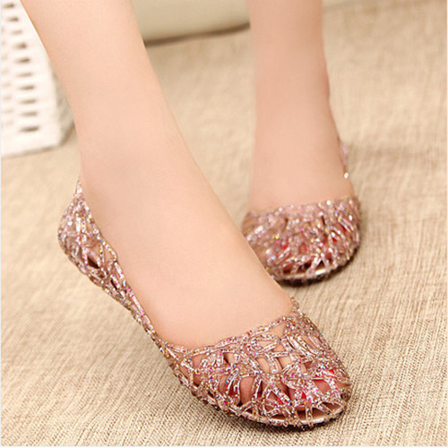 Summer Women Lady Ventilate Crystal Pebble Hollow Nest Plastic Sandal  Shoes