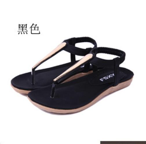 New Summer Women Lady Girl Metal sandals Flat Heel T-Strap  Flip flops Sandel