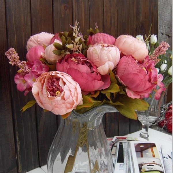 1 Bouquet Elegant Artificial Peony Silk Flowers Fake Wedding Decor Decoration
