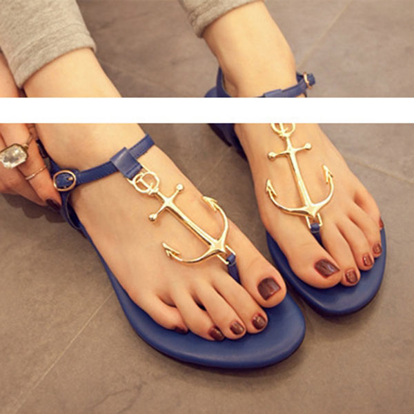 Summer Anchor Flat Sandal womens Flip Flops Metal Shoes T Strap Slipper