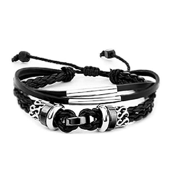 Black/Brown Leather Surf Bracelet Bangle Braided Mulit Layer Friendship