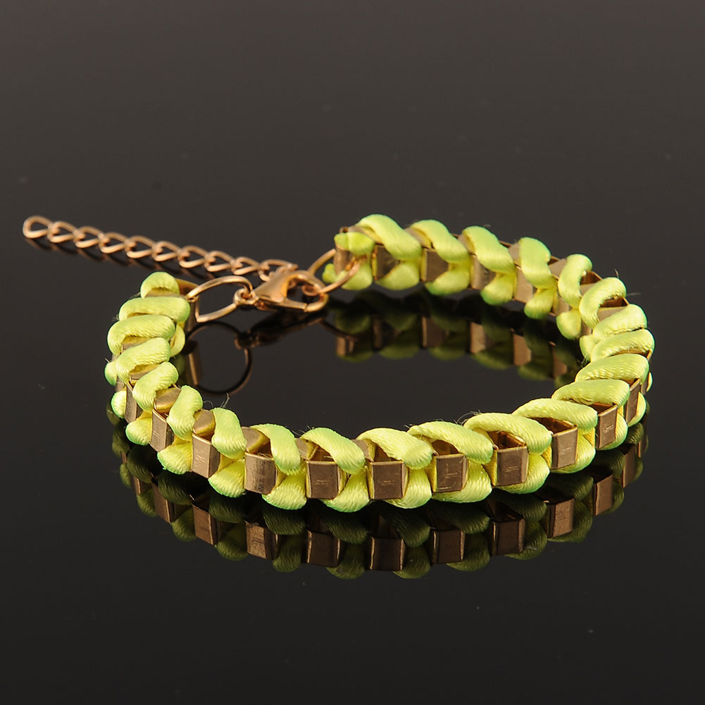 Twine Weave Rope Gold Chain Bracelet Bangle Multi Color Lady Fashion Gift
