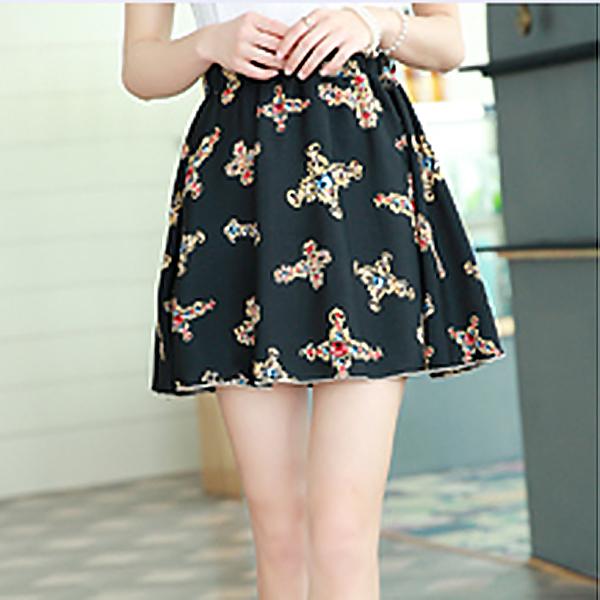 Women Girl Chiffon Floral Flower Print Pleated Skirt Summer Casual Skirts Dress