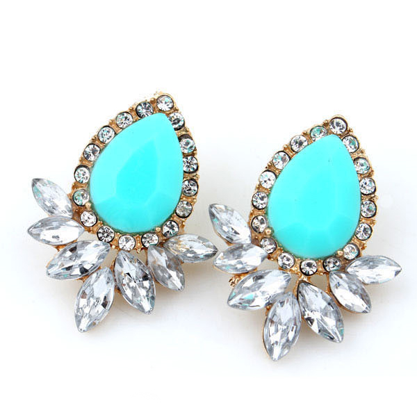 Retro Crystal Drop Gold Plated Ear Stud Earrings Lady Party Jewelry Gift