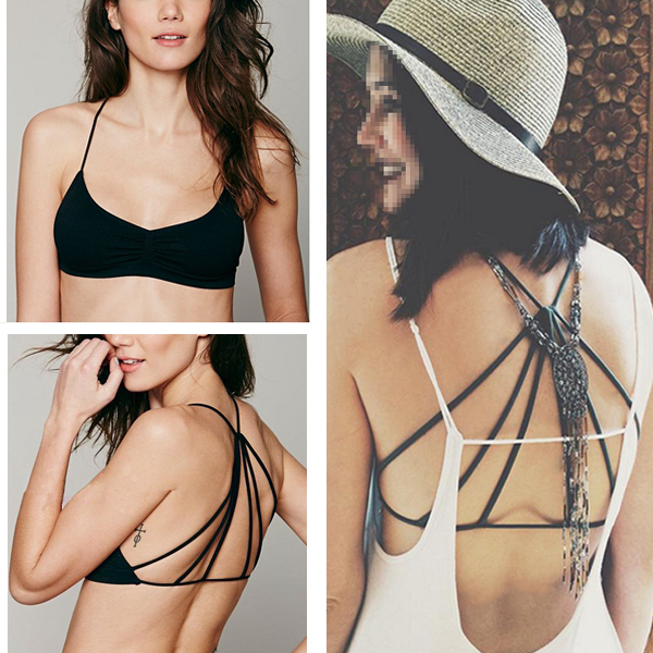Fashion Women's Sexy Padded Bustier Bra Crop Tops Bralette V neck Beach