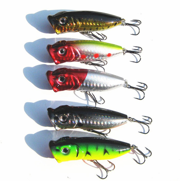 5pcs lot topwater popper minnow freshwater fishing lures