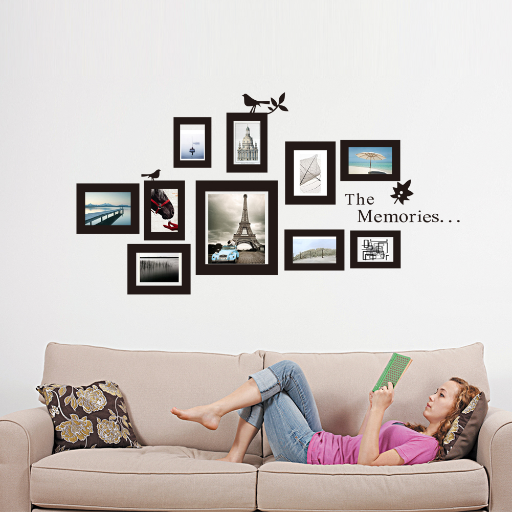 10x picture photo frame wall mural black frames sticker. Black Bedroom Furniture Sets. Home Design Ideas